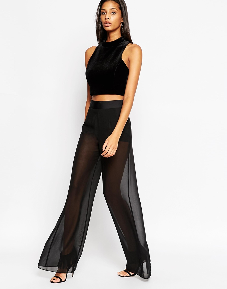 Asos Sexy Sheer Wide Leg Trousers in Black   Lyst