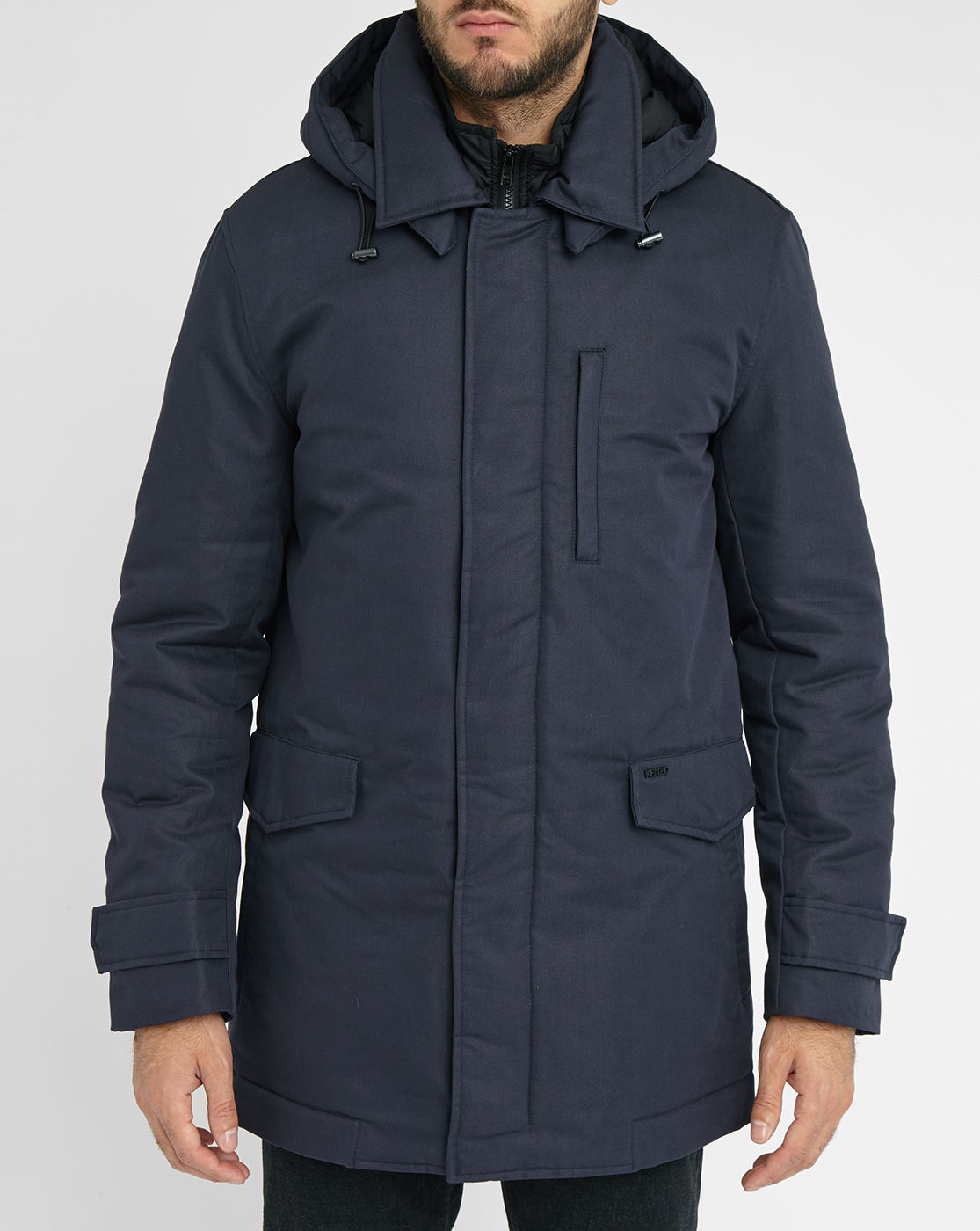 Kenzo Navy Printed Lining Quilted Parka In Blue For Men Lyst
