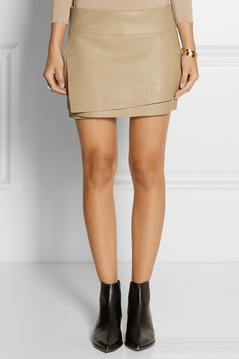 helmut lang wrap effect leather mini skirt in lyst