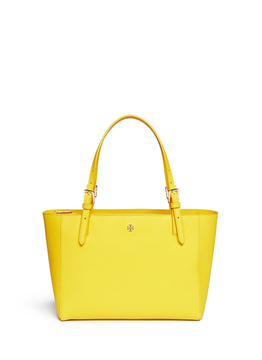 b83b0db67c4 Lyst - Tory Burch  york  Small Leather Buckle Tote in Yellow