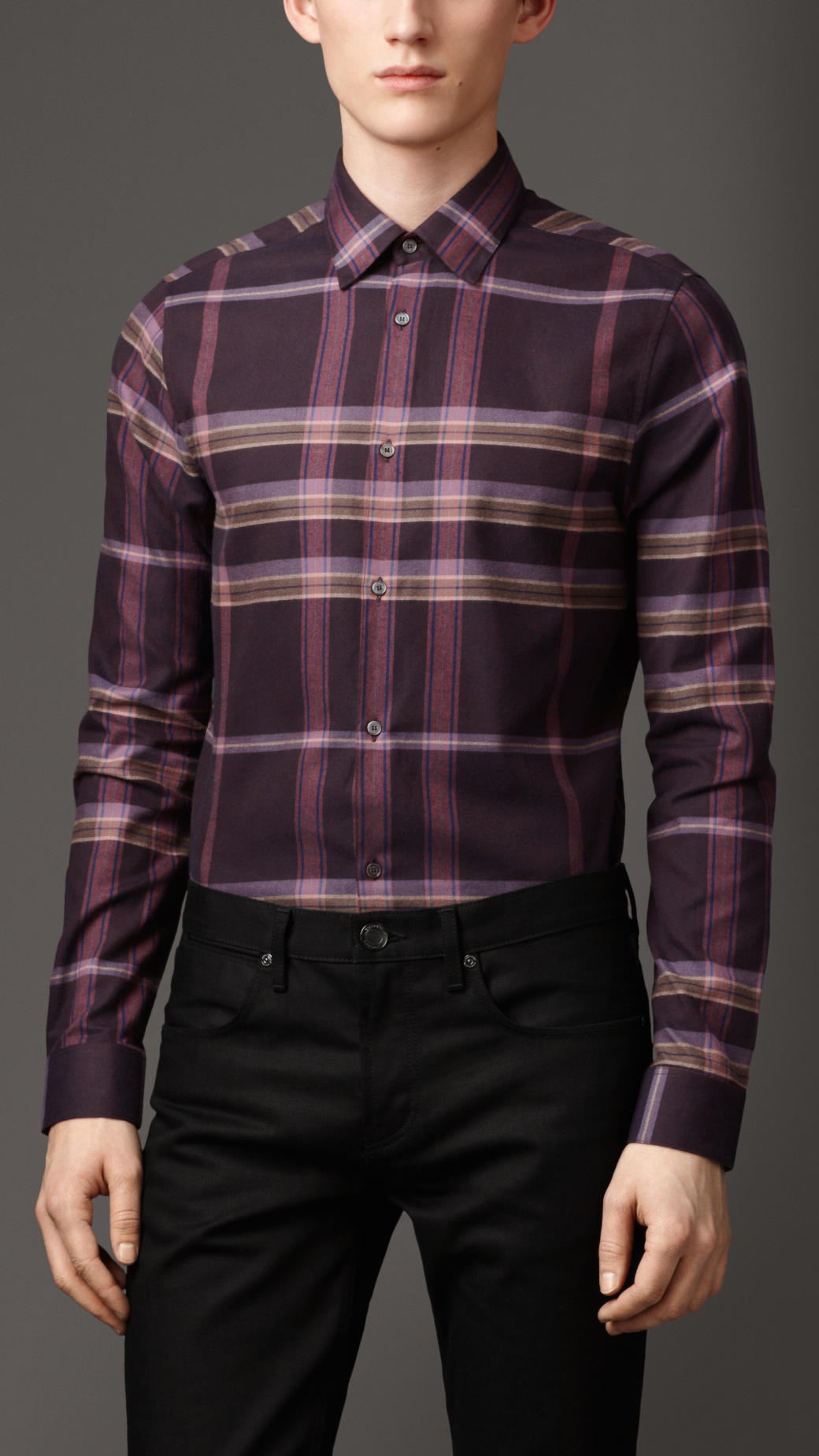 Lyst burberry slim fit check cotton flannel shirt in for Slim fit check shirt