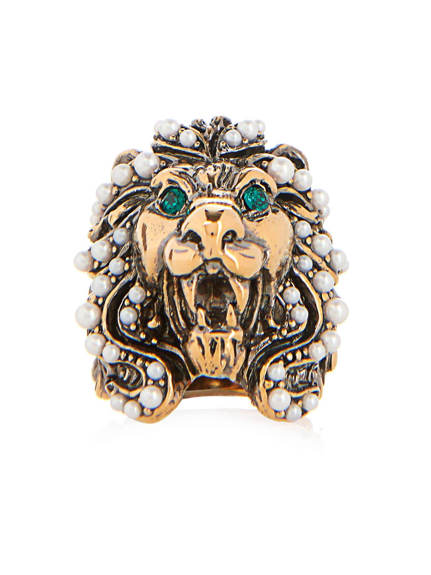 616308209 Gucci Crystal And Pearl-Embellished Lion Ring in Green - Lyst