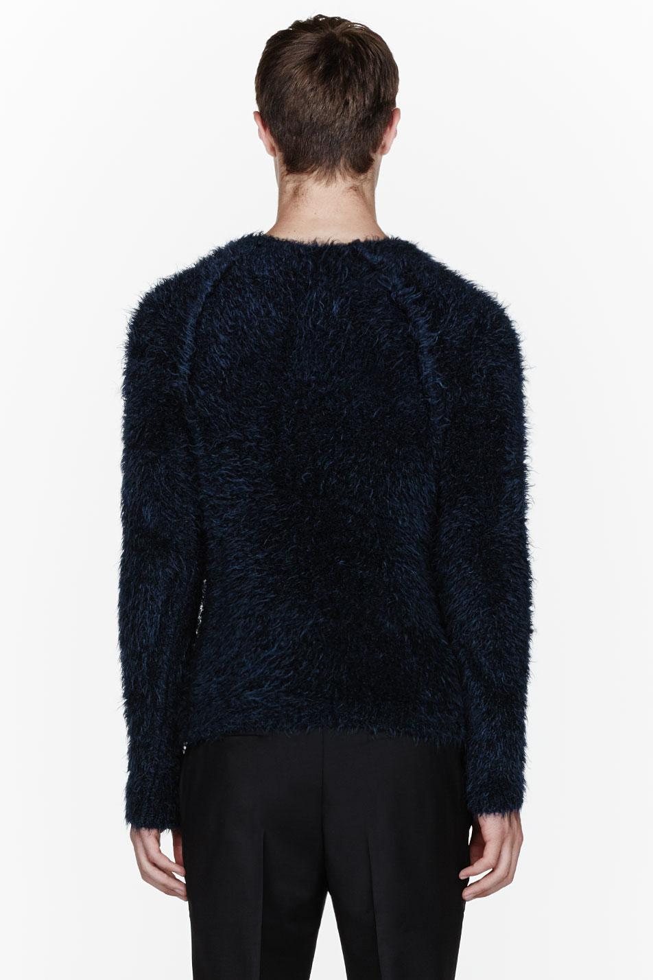 Paul Smith Navy Blue Mohair Sweater In Black For Men Lyst