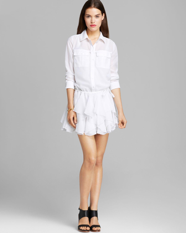 33ca3f6bae5 Guess Shirt Dress Ruffle in White - Lyst