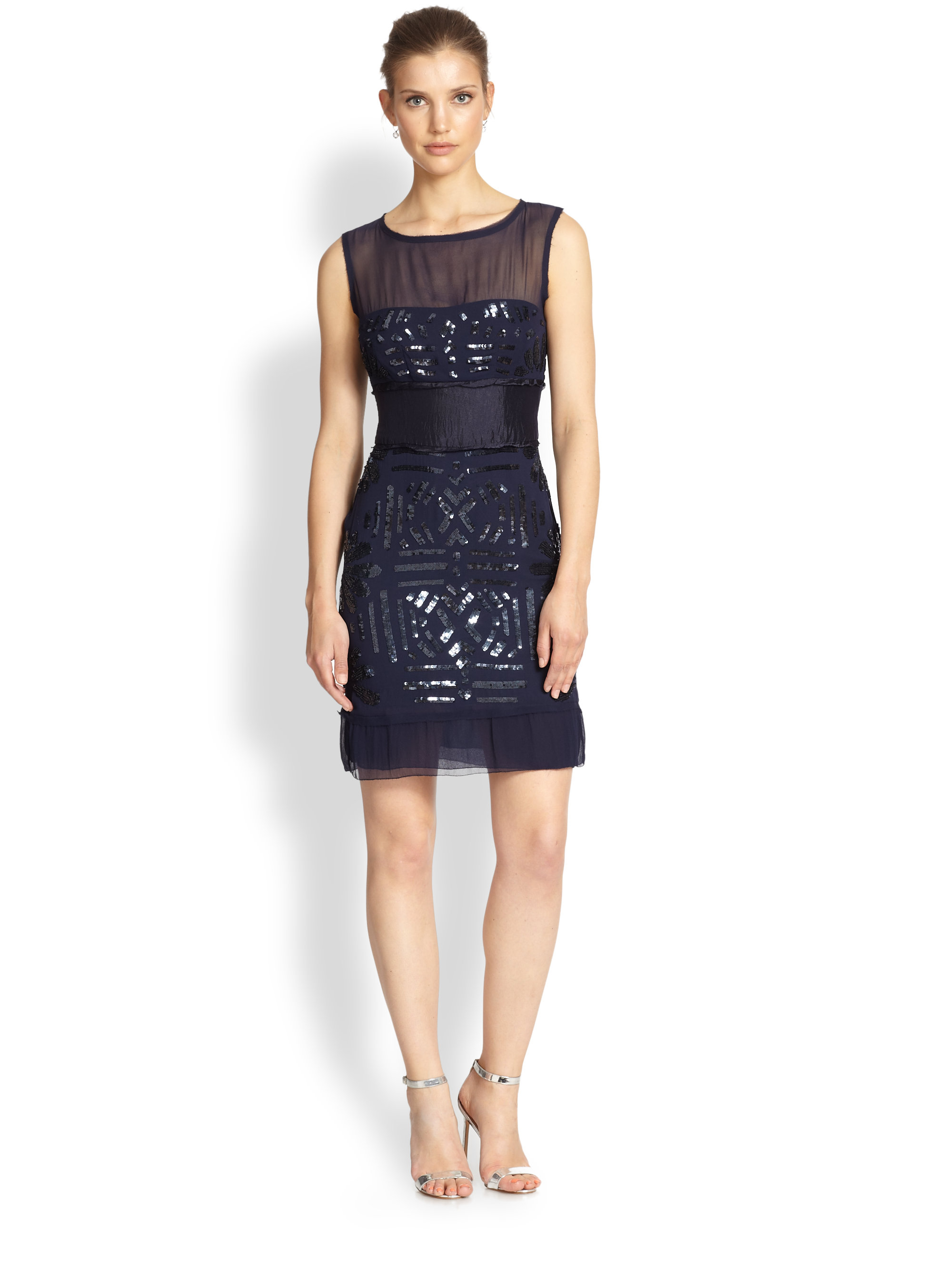 Nicole Miller Sequined Cap Sleeve Gown – fashion dresses