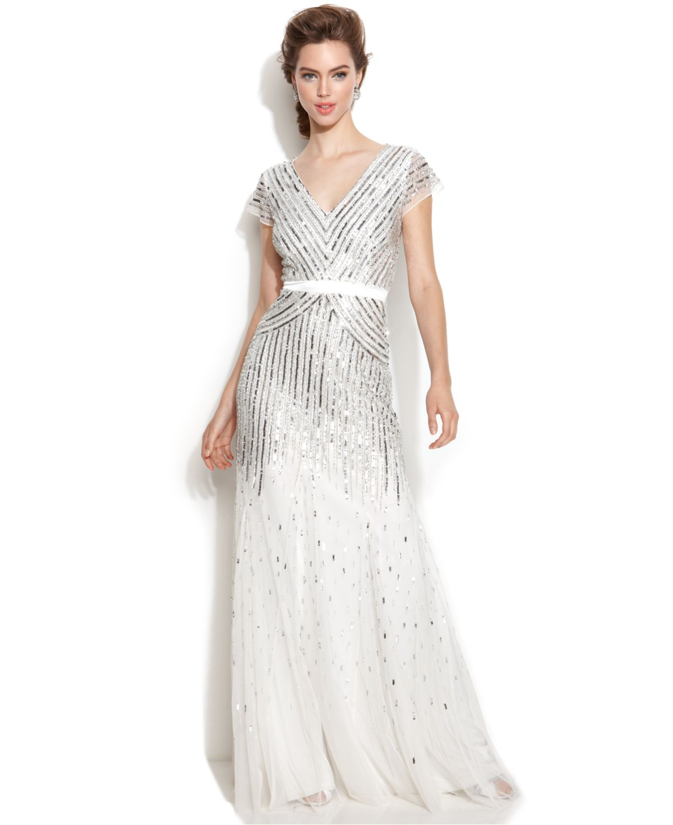 Lyst - Adrianna Papell Cap-Sleeve Sequined Gown in White