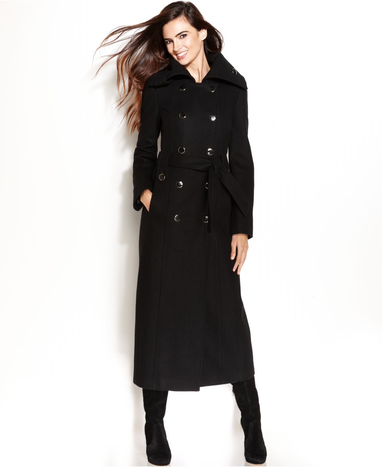 Calvin klein Wool-Blend Double-Breasted Belted Maxi Coat in Black
