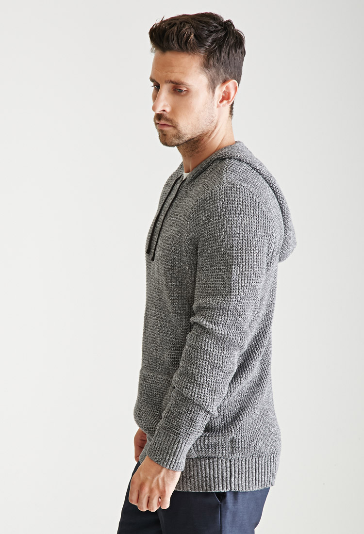 Forever 21 Marled Knit Hooded Sweater in Gray for Men | Lyst