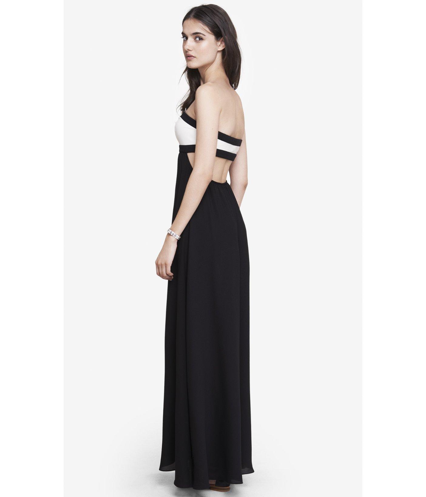 Express Open Back Color Block Maxi Dress in Black - Lyst
