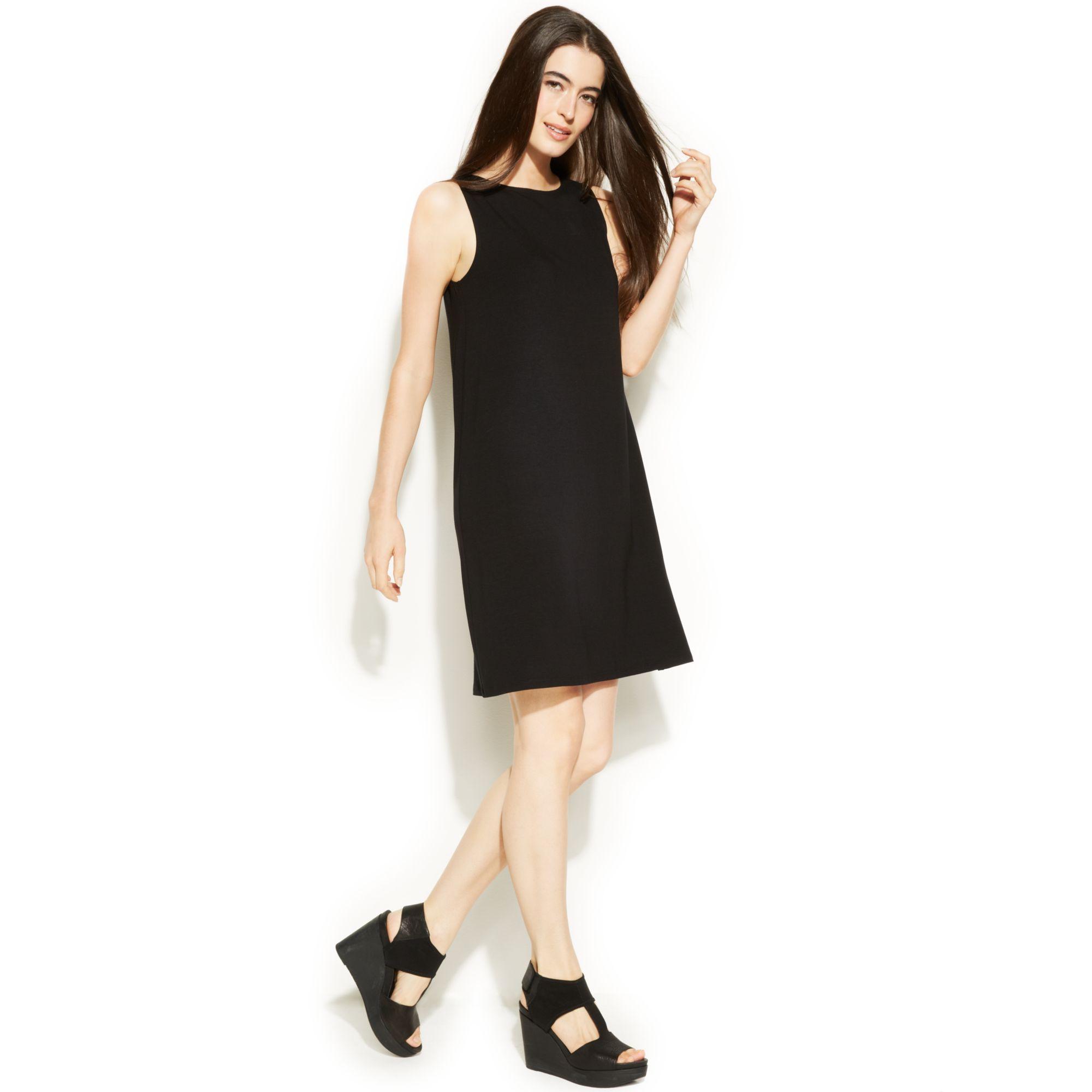 Eileen fisher Sleeveless Shift Dress in Black | Lyst