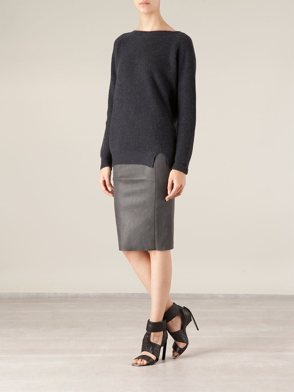 Stouls Leather Pencil Skirt in Gray | Lyst