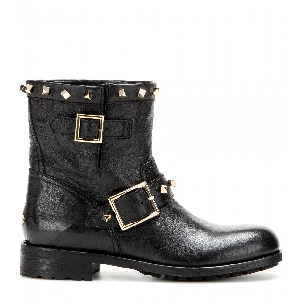 Jimmy choo Youth Embellished Leather Biker Boots in Black ...