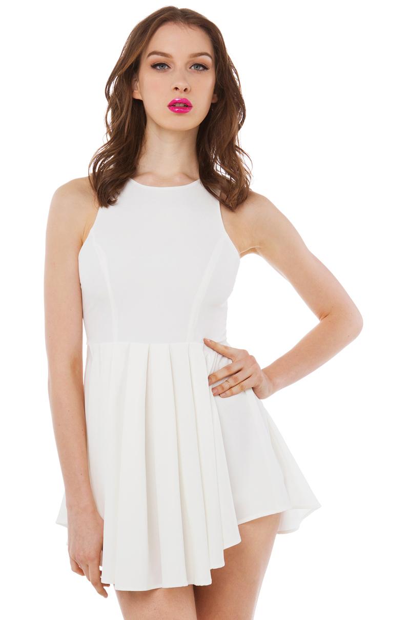 68b6a7e09b0e Akira Black Label Pleated Dresslike Ivory Romper in White - Lyst