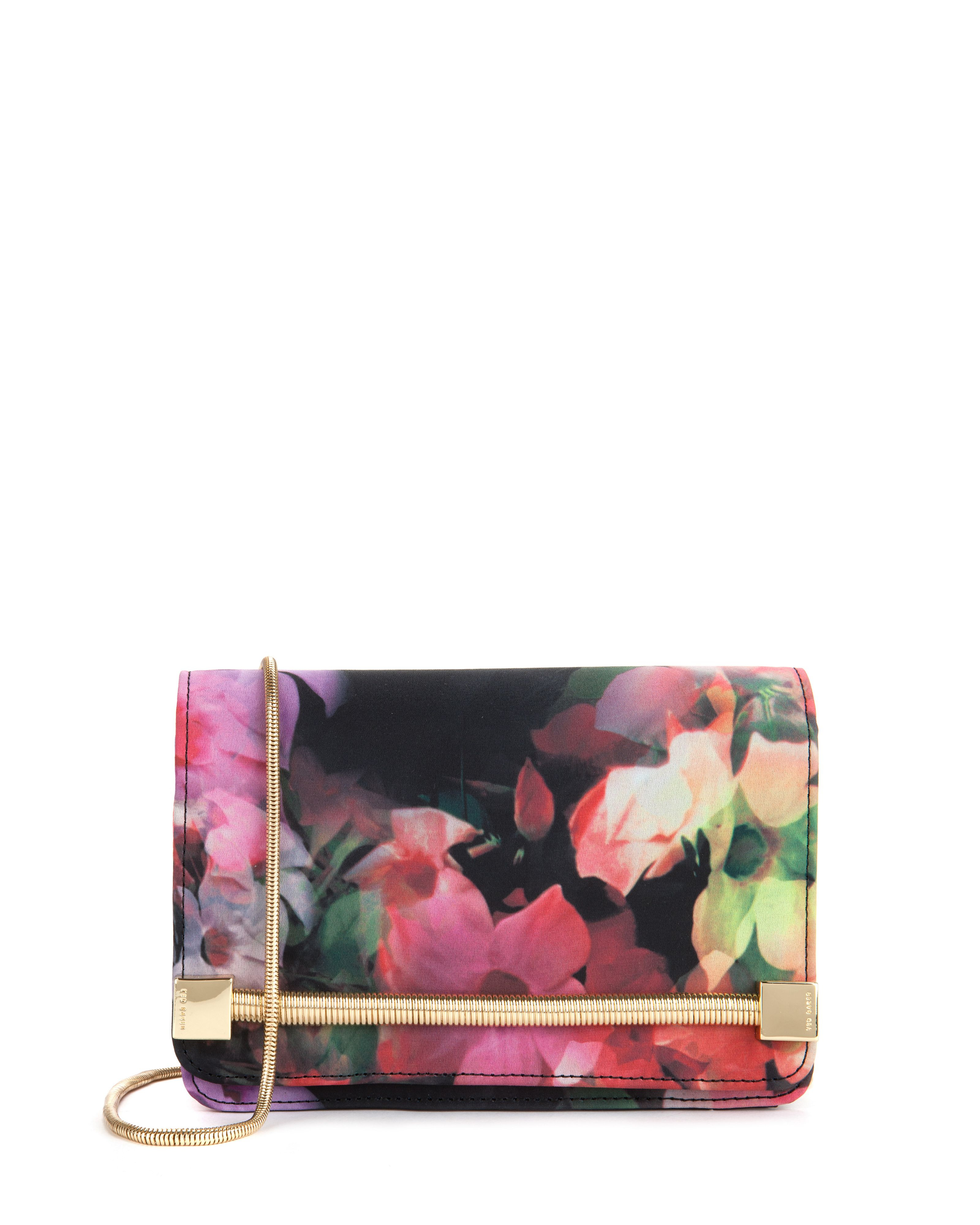 ted baker haily cascading floral clutch bag in black lyst
