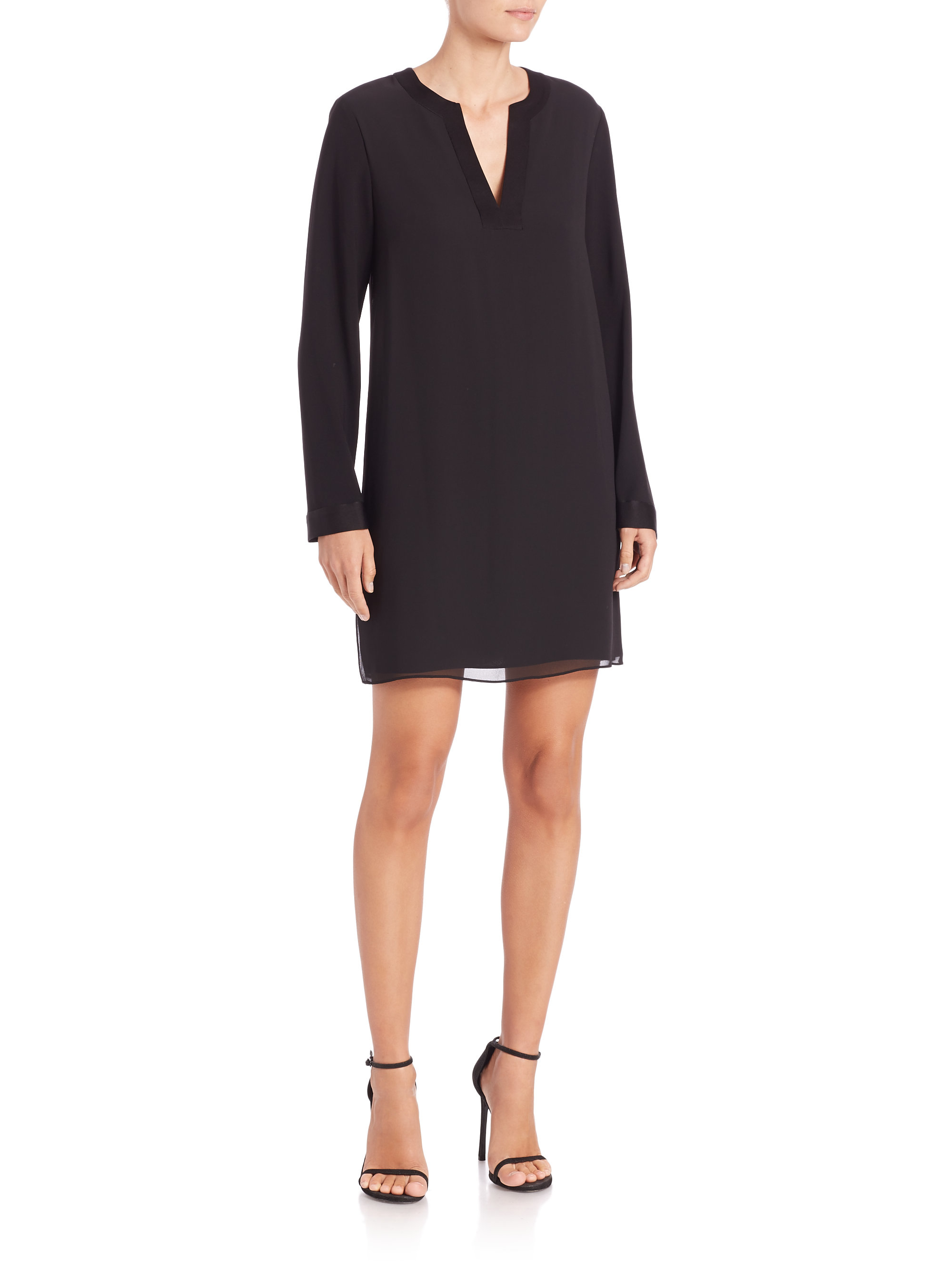 Bcbgmaxazria Dyanne Long Sleeve Shift Dress In Black Lyst