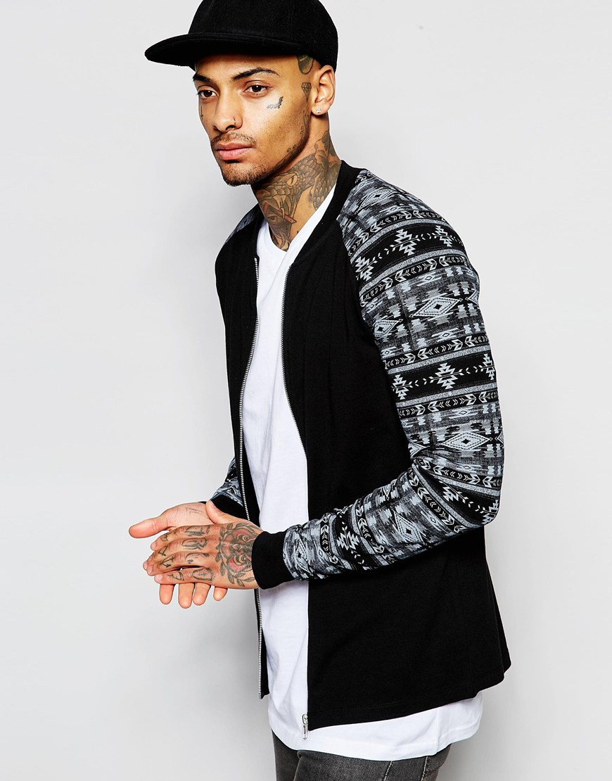 Asos Jersey Muscle Bomber Jacket With Aztec Print In Black