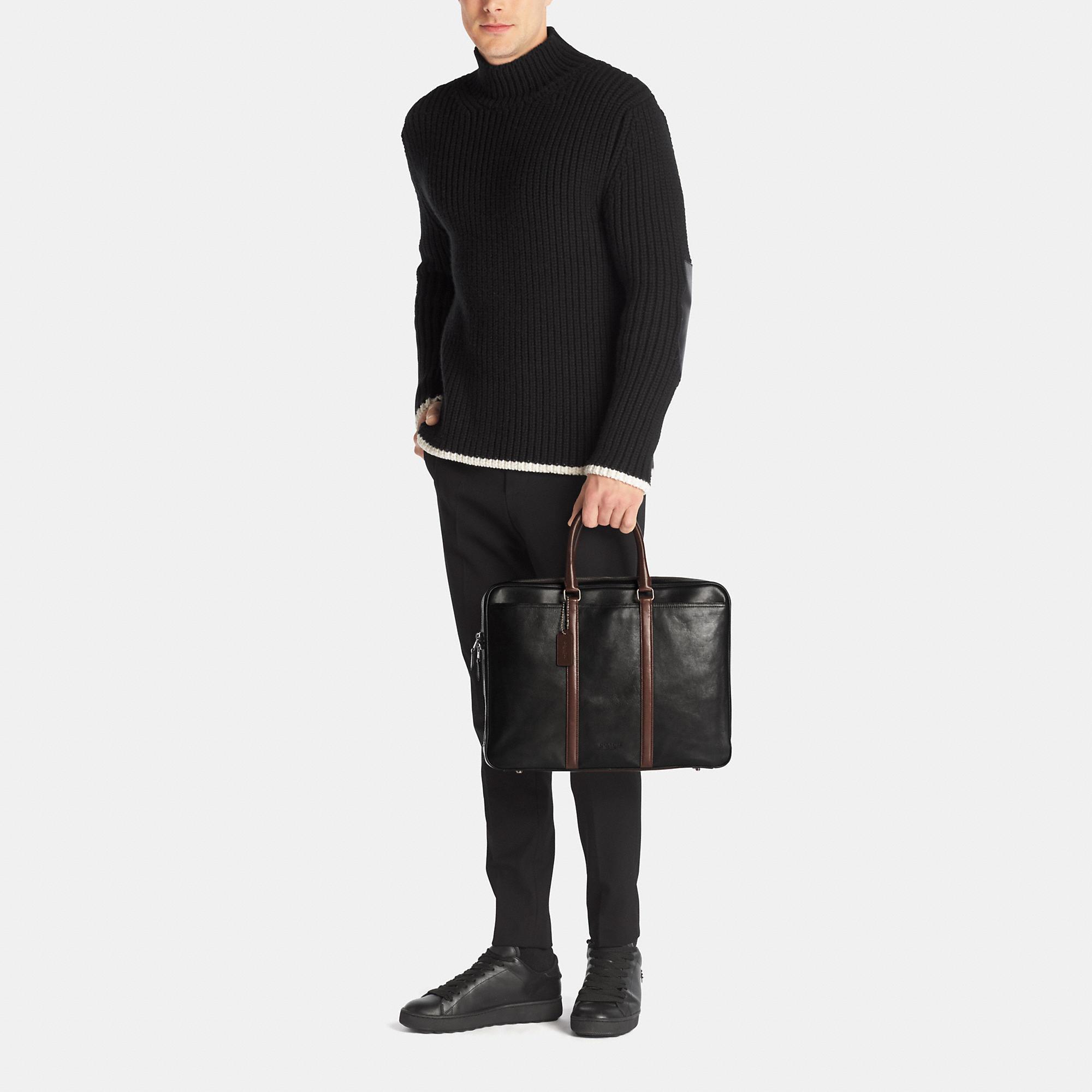 cb529e429 COACH Metropolitan Slim Brief In Sport Calf Leather in Black for Men - Lyst
