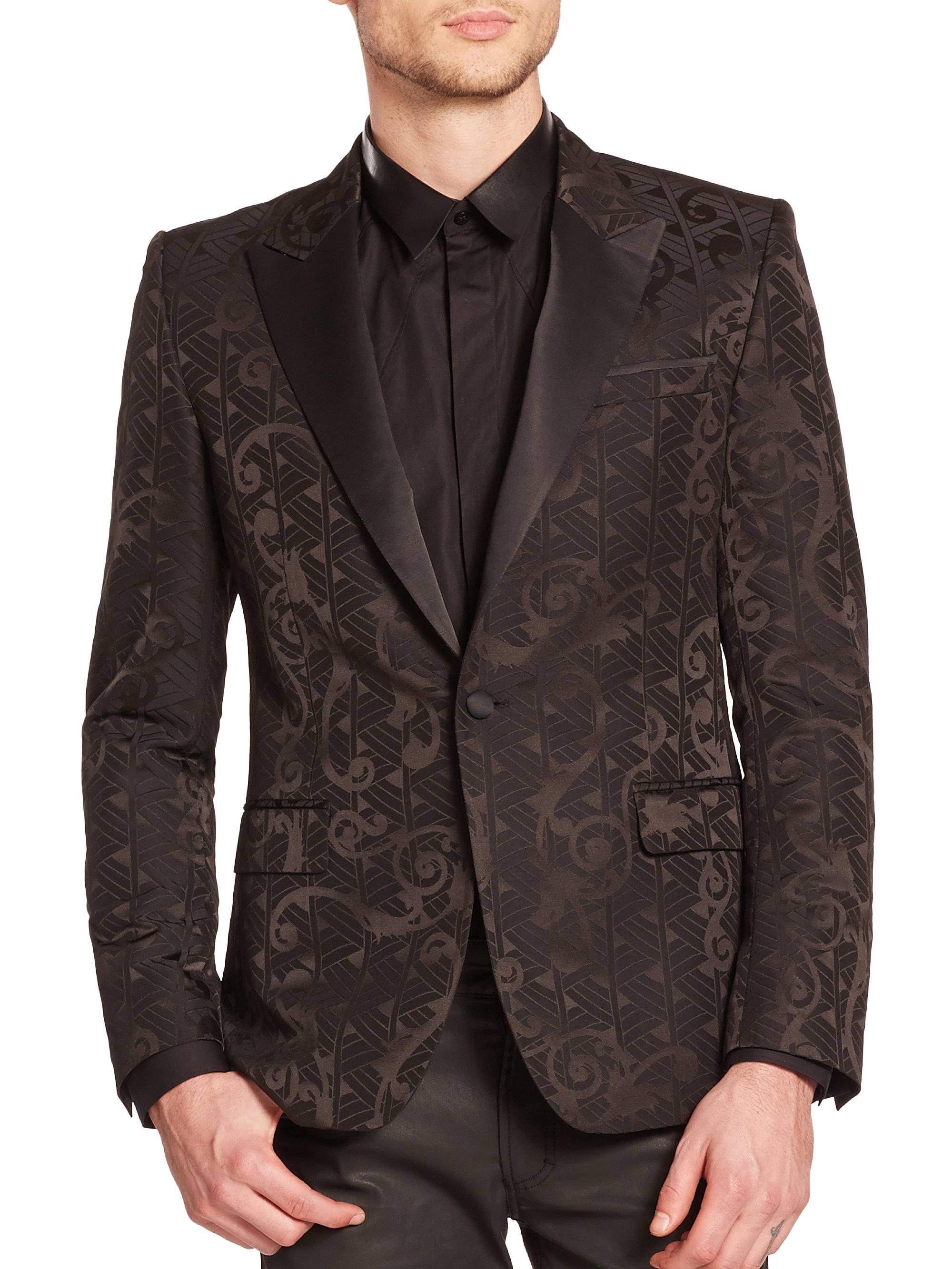 Versace black baroque deco sportcoat for men lyst for Deco baroque