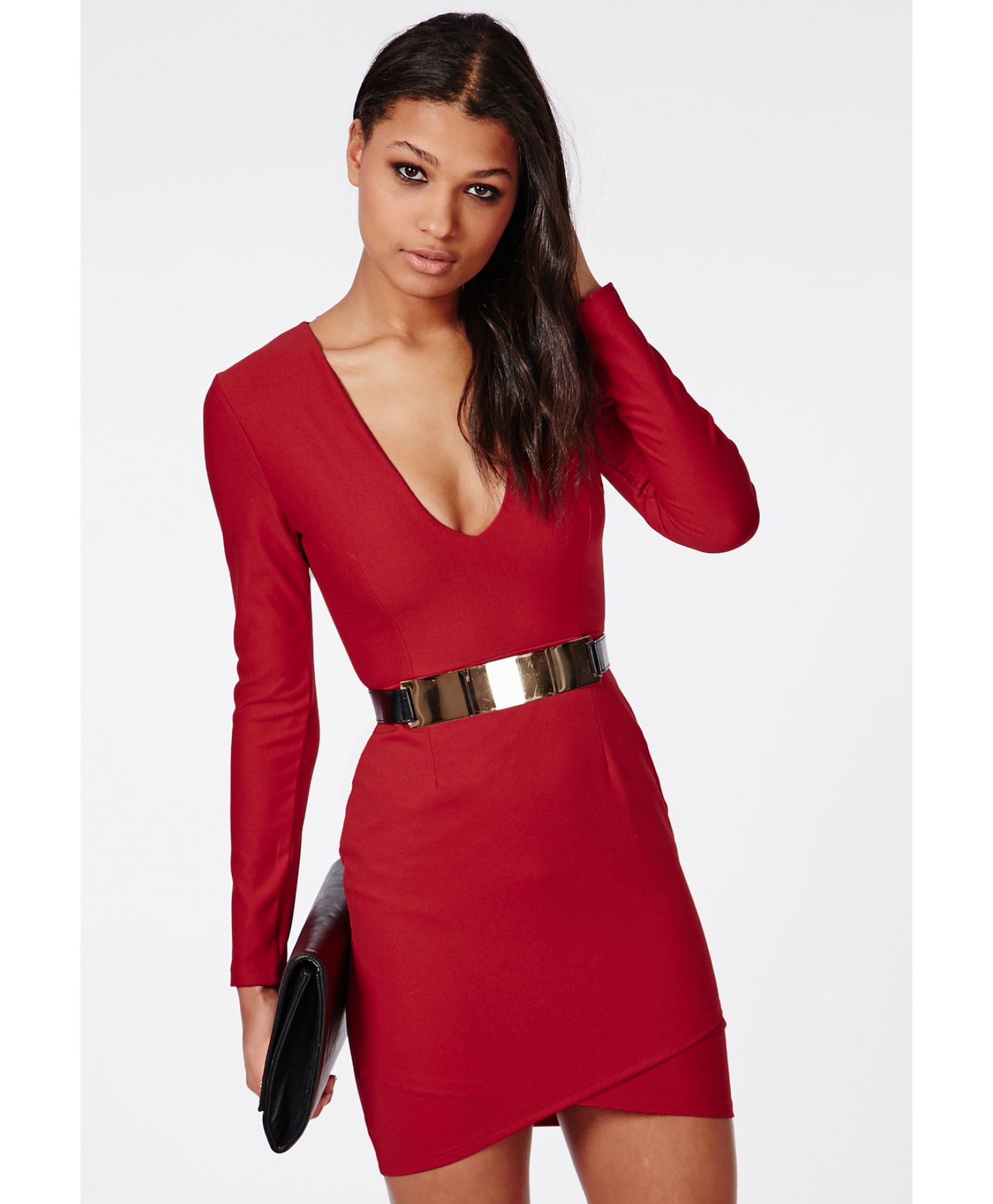 Lyst - Missguided Long Sleeve Plunge Wrap Dress Red in Red 760a54cdb462