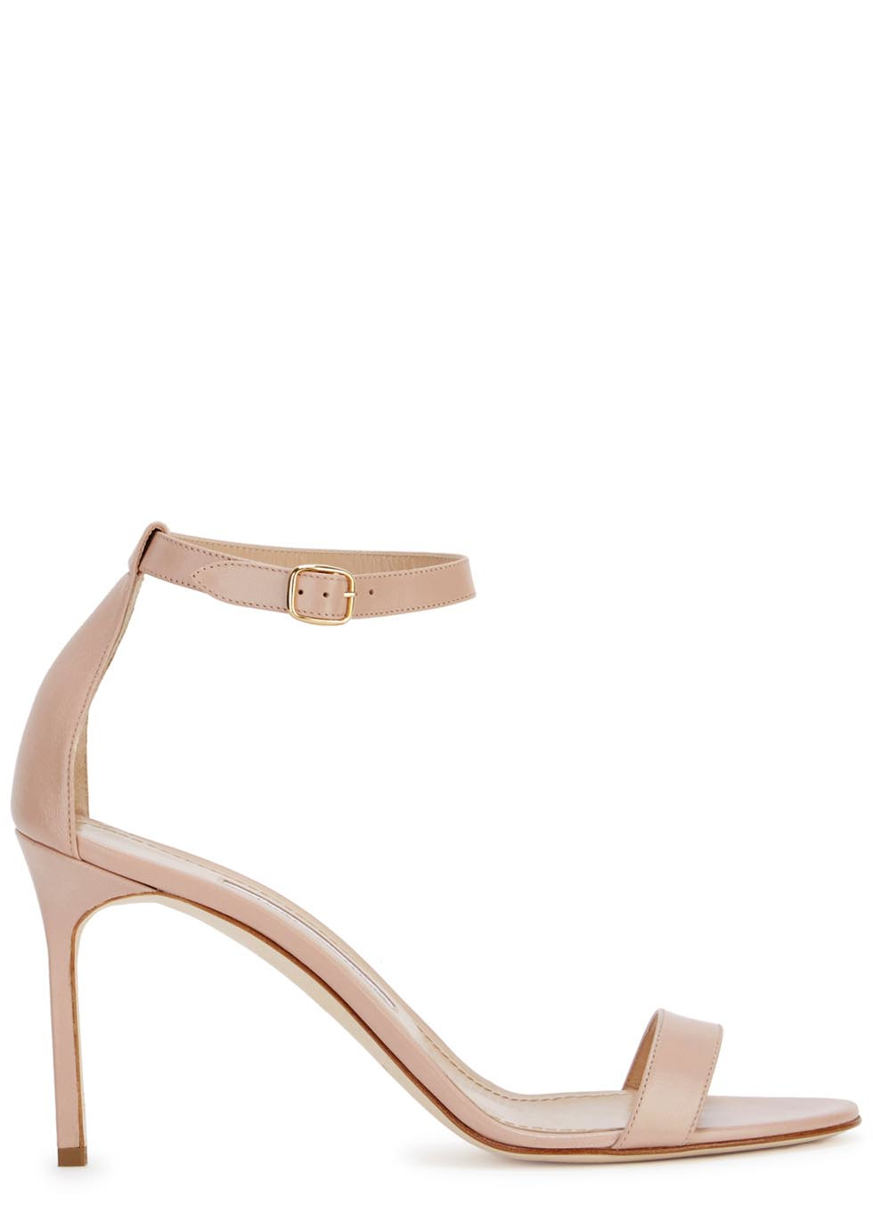 68d2a7f81a6a9 Manolo Blahnik Chaos 90 Blush Leather Sandals in Natural - Lyst