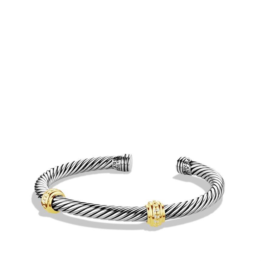 David Yurman Cable Classics Twostation Bracelet With Gold