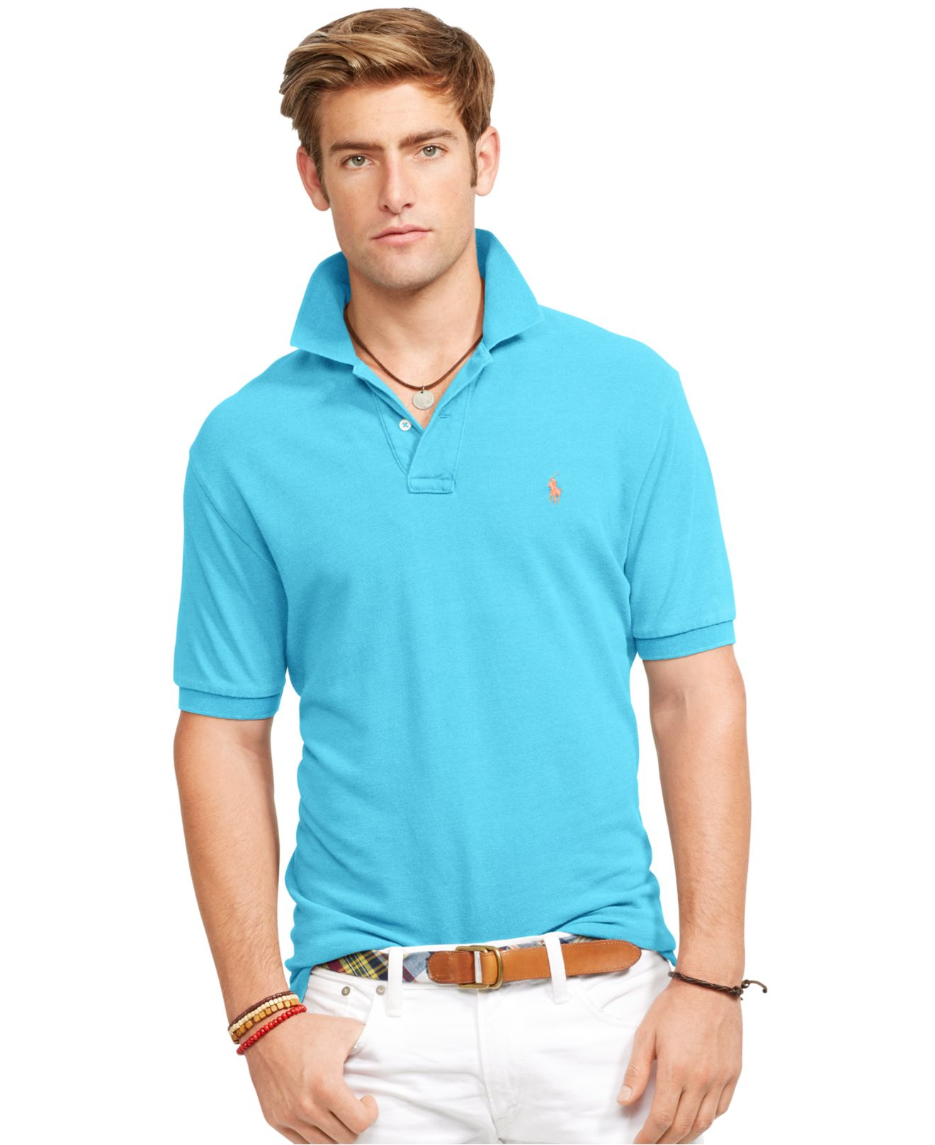 Lyst - Polo Ralph Lauren Classic-fit Mesh Polo Shirt in Blue for Men 32795398c8cc