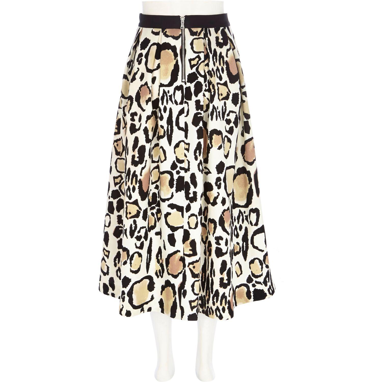 399c1ccd83 River Island Cream Leopard Print Midi Skirt - Lyst