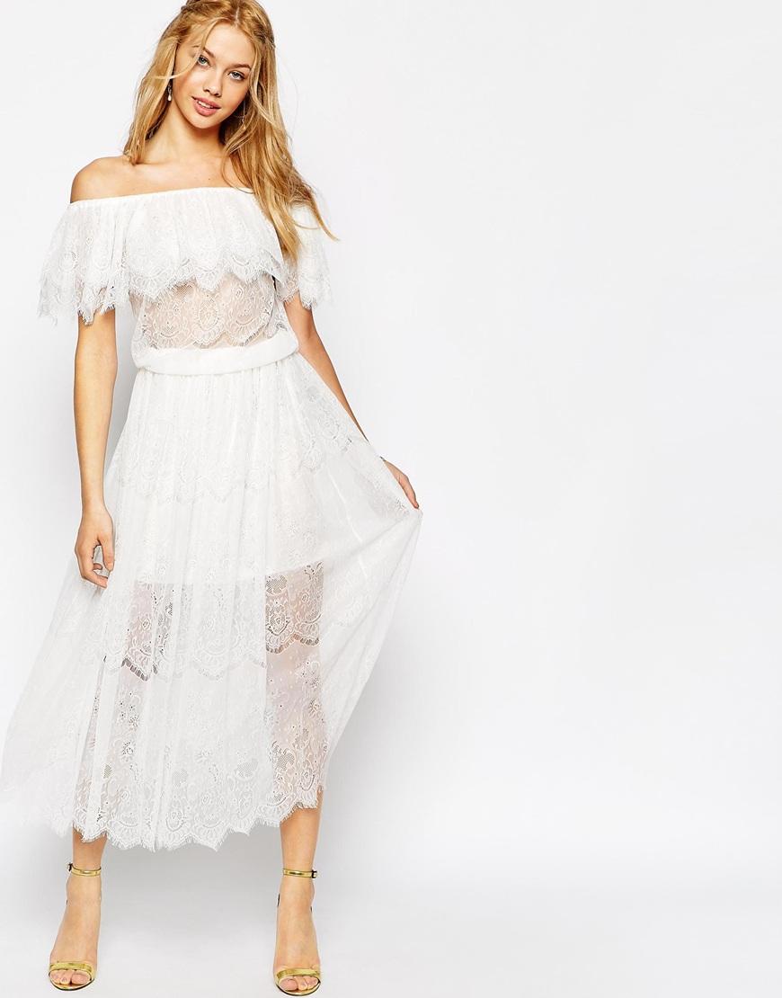 Darccy Vintage Boho Lace Off Shoulder Maxi Dress in White  Lyst