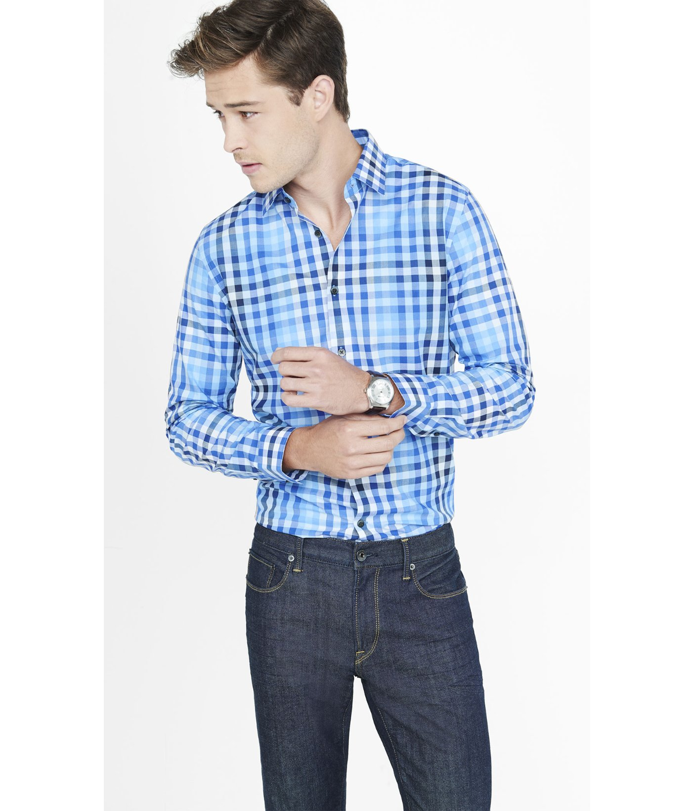 Lyst Express Modern Fit Ombre Plaid Dress Shirt In Blue For Men