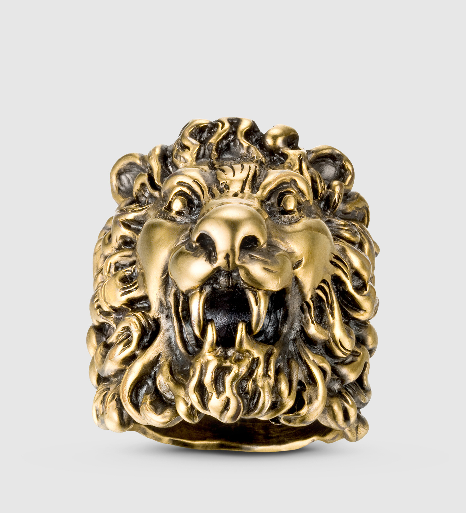 Lyst Gucci Lion Head Ring in Metallic for Men