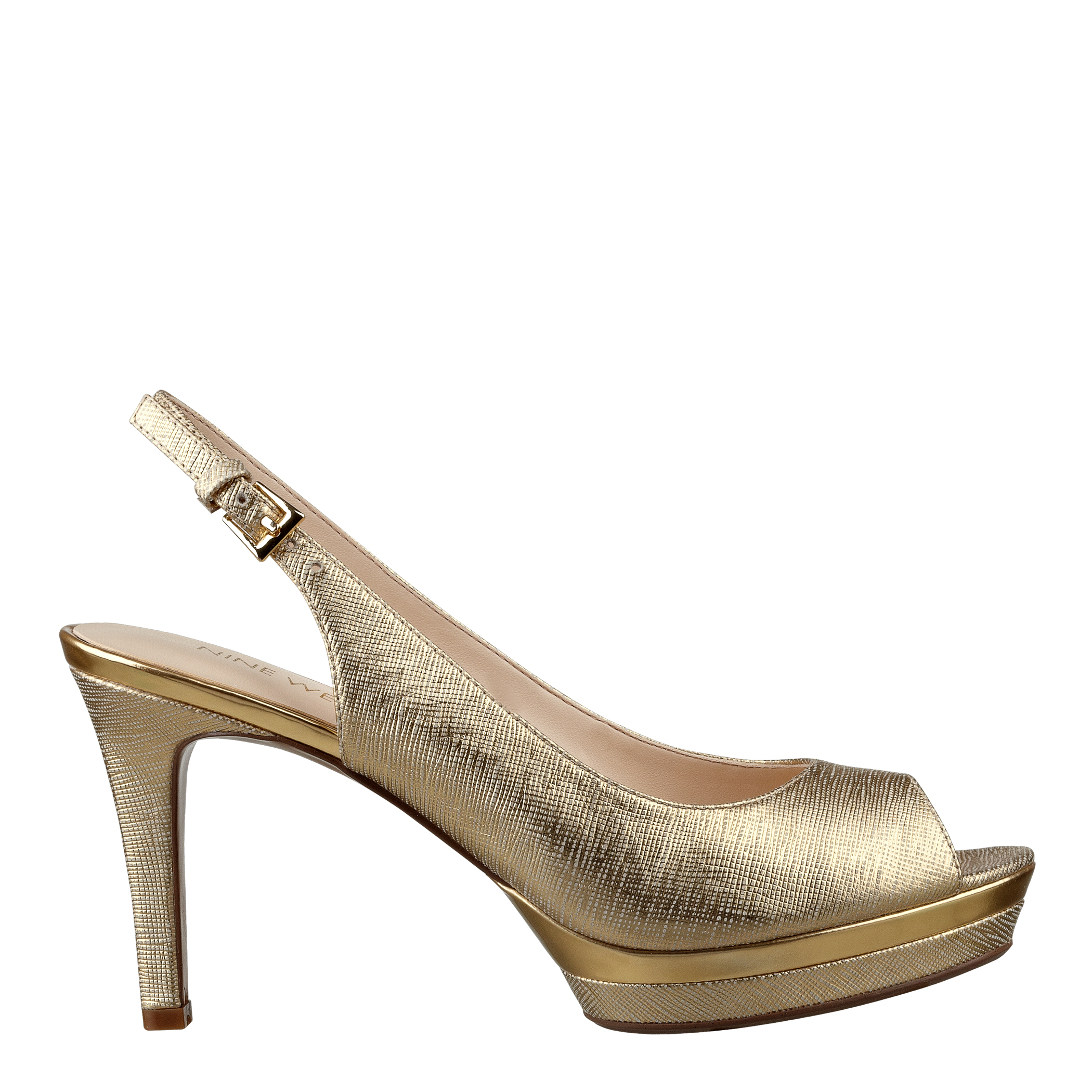 Nine West Gold Peep Toe Shoes