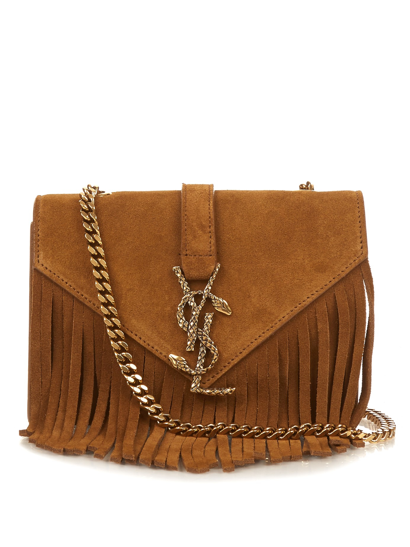 Small Monogram Saint Laurent Fringed Crossbody Bag In