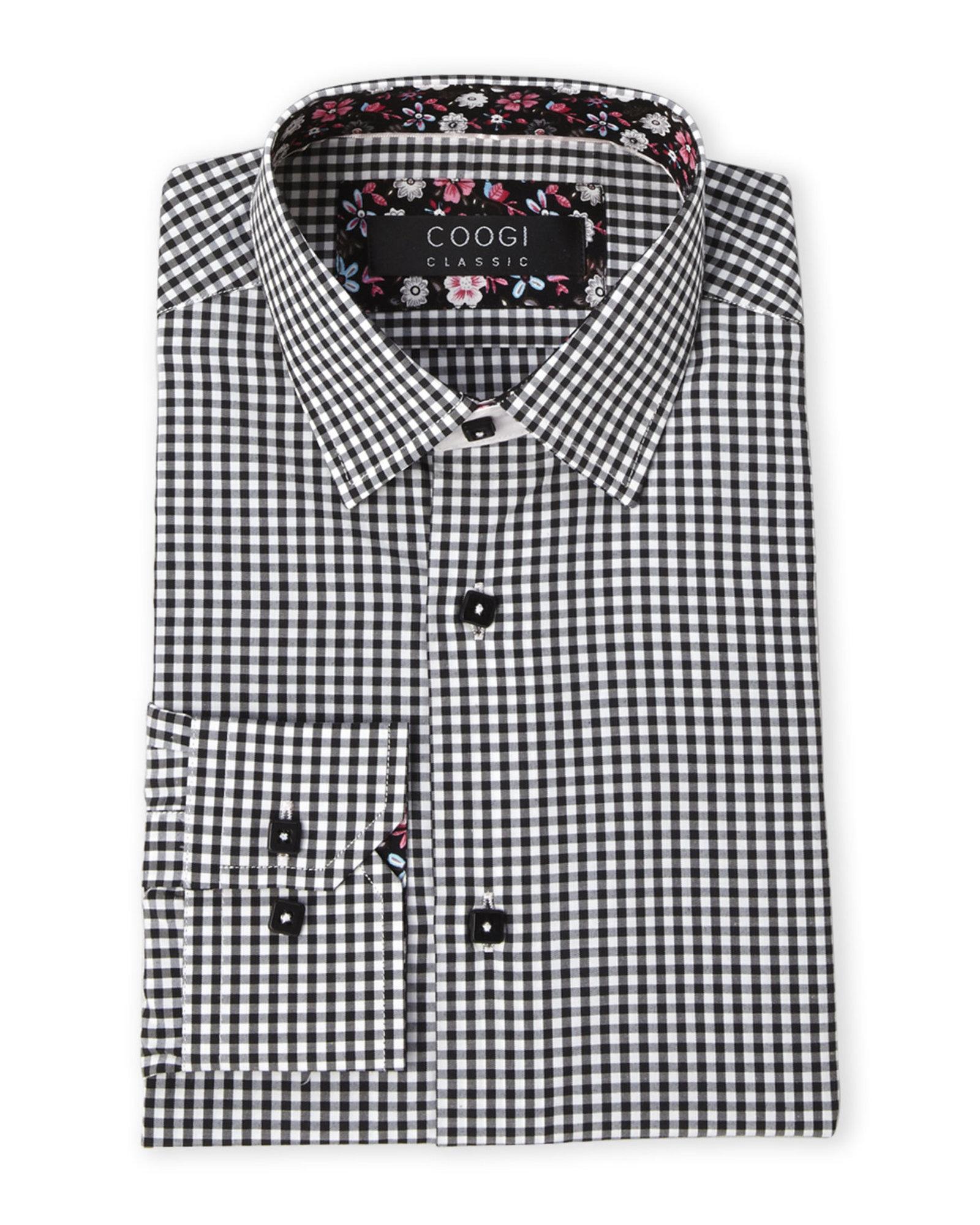 Coogi Black Check Dress Shirt In Black For Men Lyst