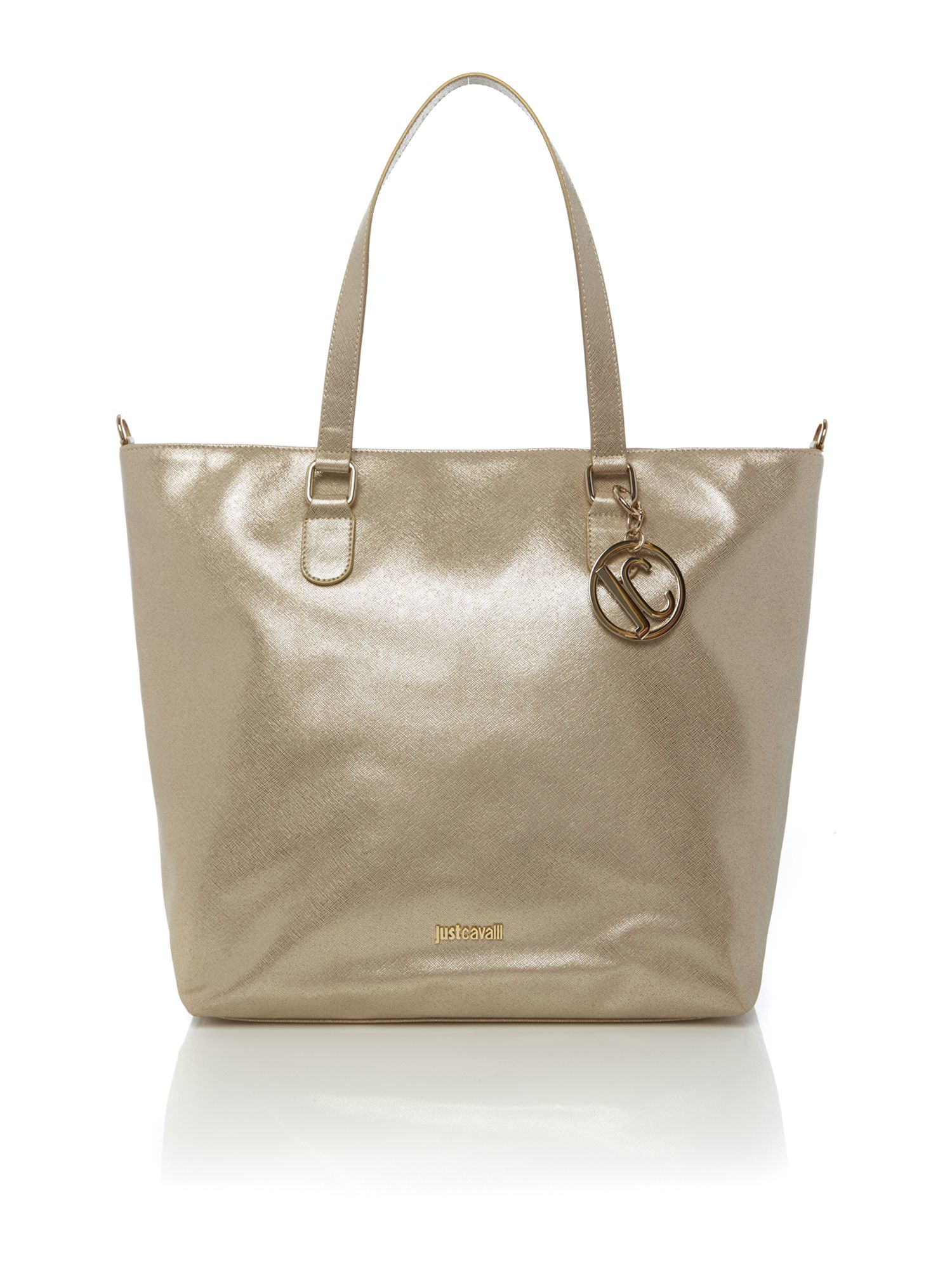 Just Cavalli Gold Leather Tote Bag In Metallic Lyst