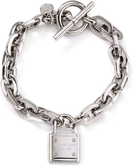 michael kors chain link padlock toggle bracelet in silver