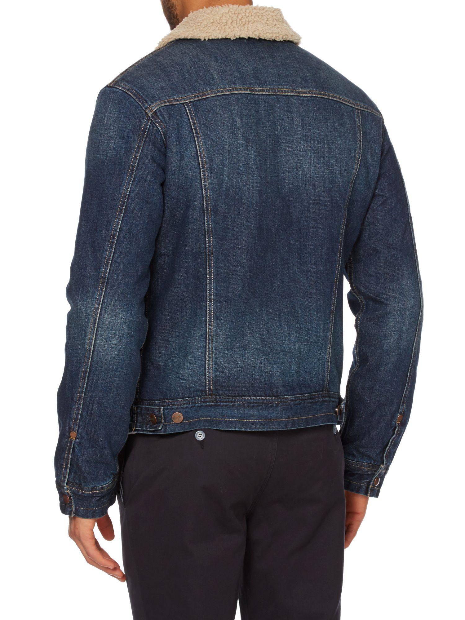 Lyst wrangler denim sherpa jacket in blue for men for Wrangler denim shirts uk