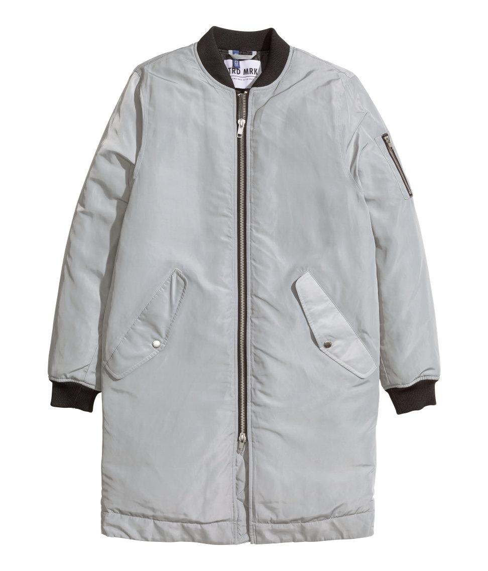 Lyst - Hu0026m Long Bomber Jacket In Gray For Men