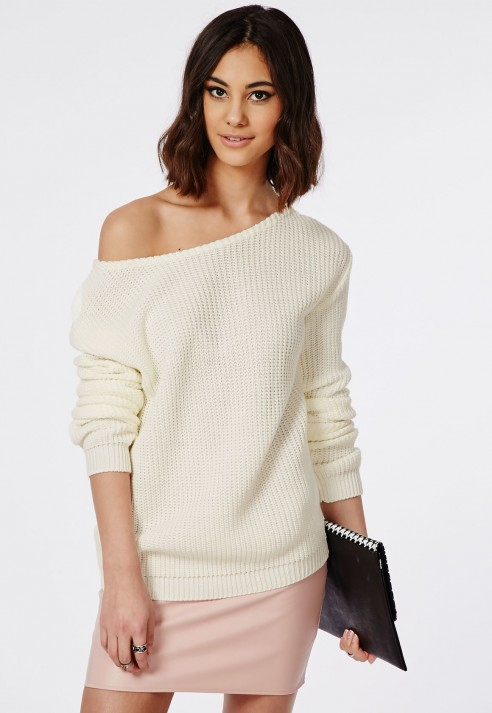 485ff79ef6e Missguided Ophelita Off Shoulder Knitted Jumper Cream in Natural - Lyst