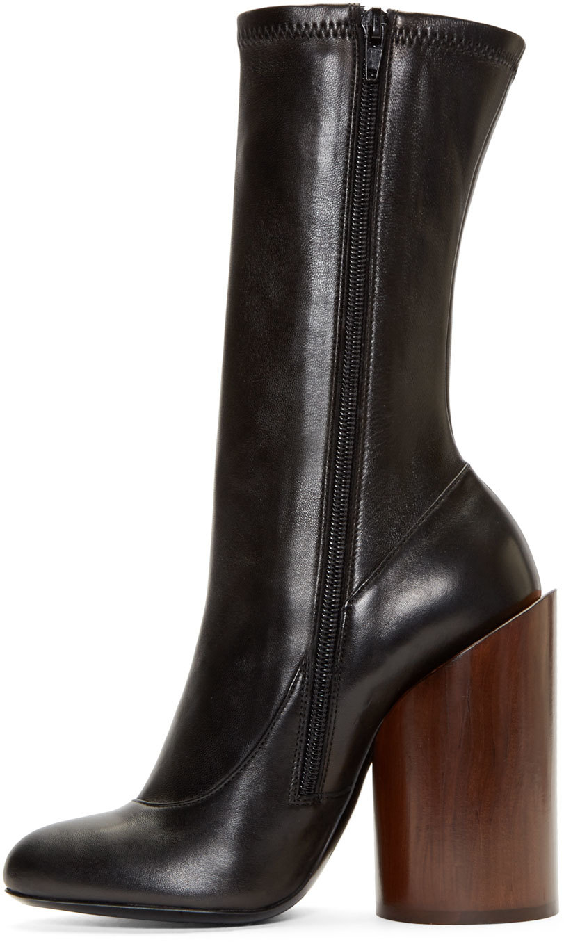 Lyst - Givenchy Black Leather Wooden Heel Show Boots in Black 0a7e90449