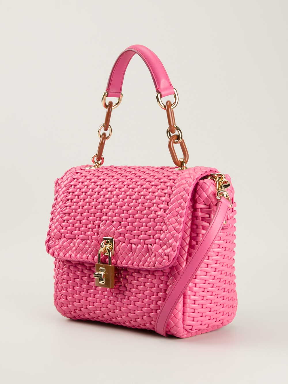 Lyst - Dolce   Gabbana Woven Tote Bag in Pink 347c0dc8315e0