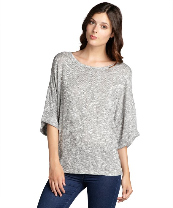 Nation ltd Grey Stretch Knit 'helena' Short Sleeve Sweater in Gray ...