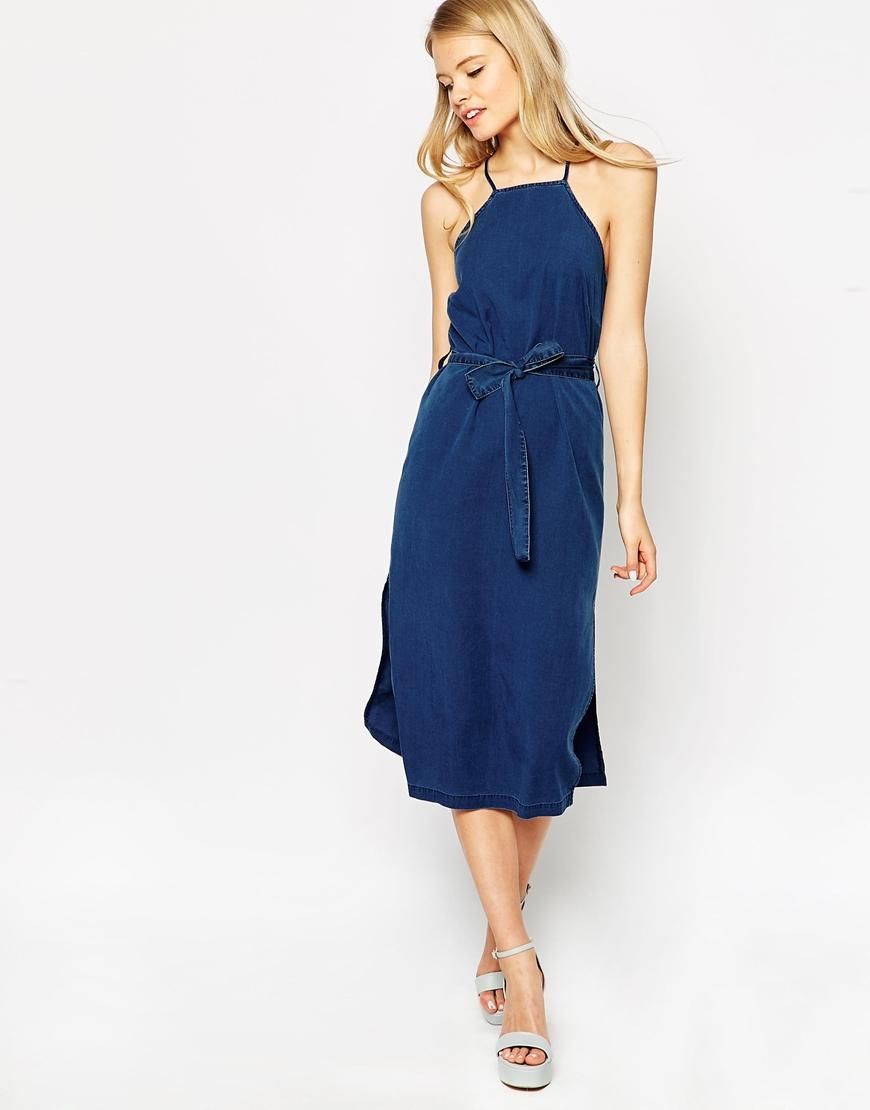 Asos Denim Cross Back Halter Midi Dress With Tie in Blue | Lyst