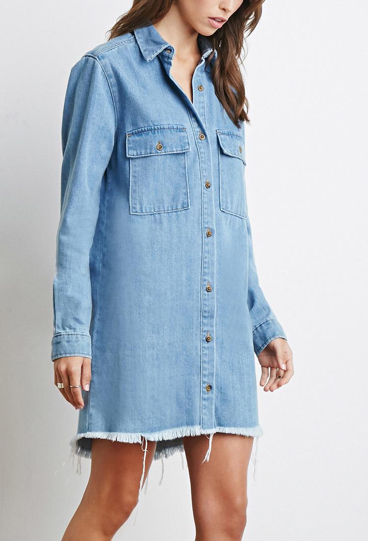 Forever 21 Frayed Denim Shirt Dress In Blue Lyst