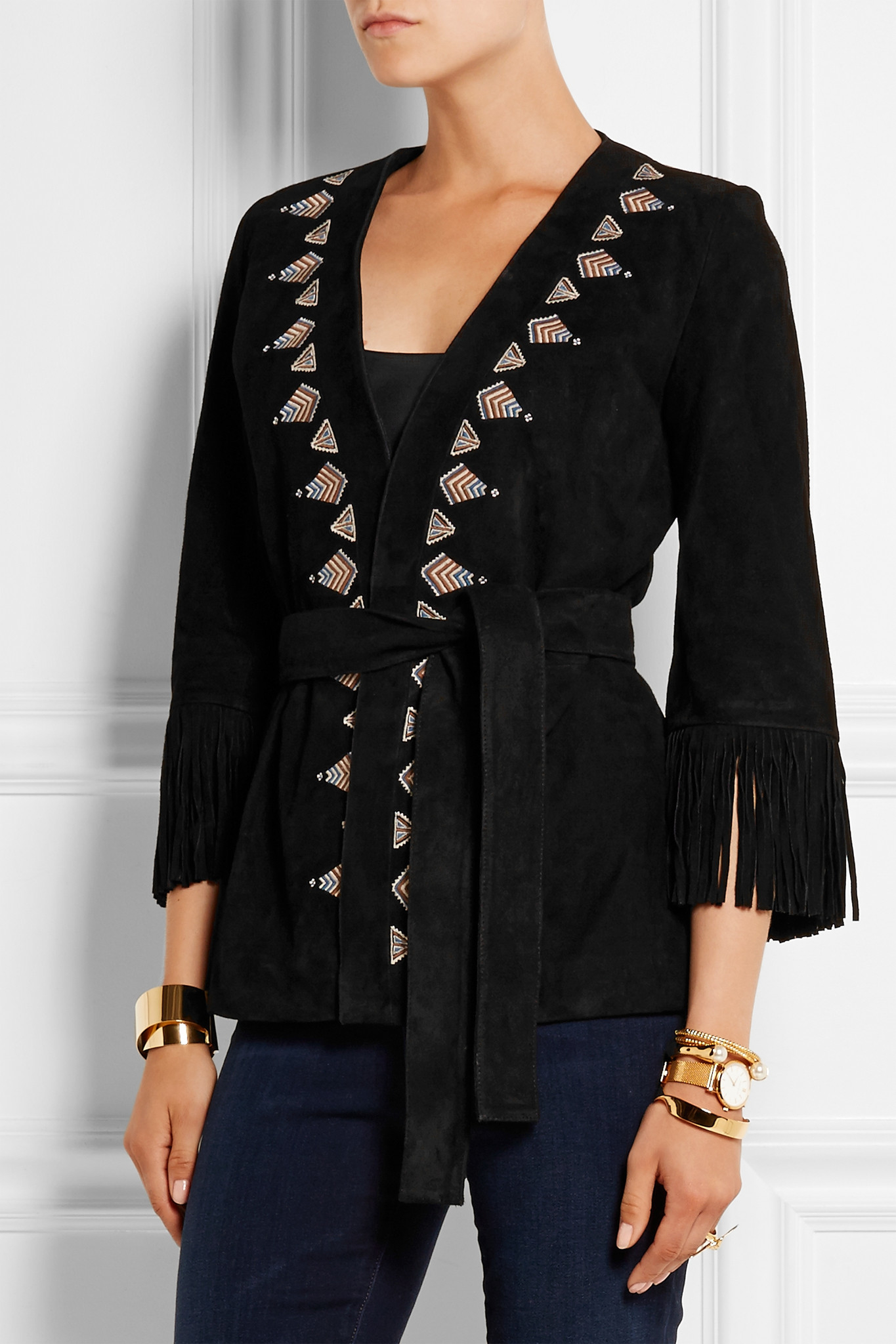 Talitha fringed embroidered suede kimono jacket in black