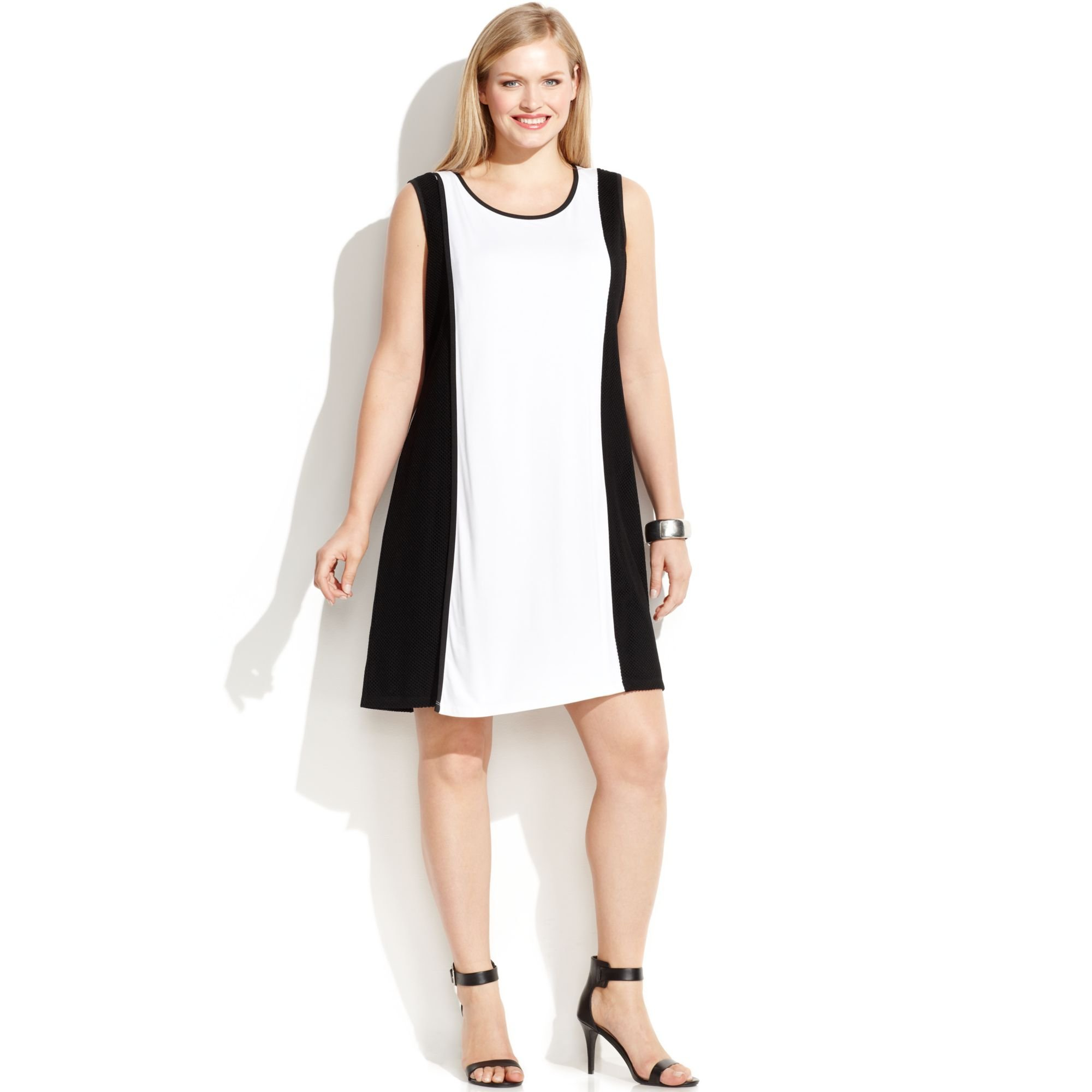 938053373e6 Calvin Klein Plus Size Sleeveless Colorblock Mesh-trim Dress in ...
