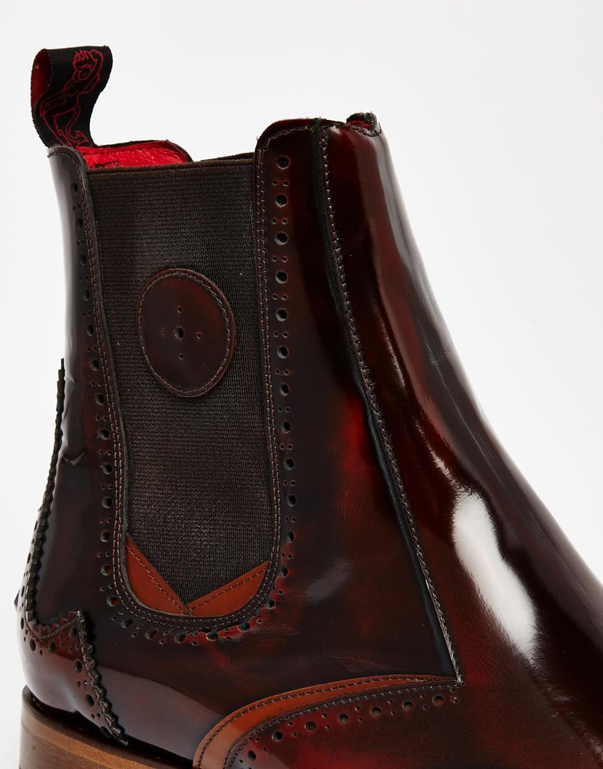 92a4040958 Jeffery West Leather Brogue Chelsea Boots in Brown for Men - Lyst