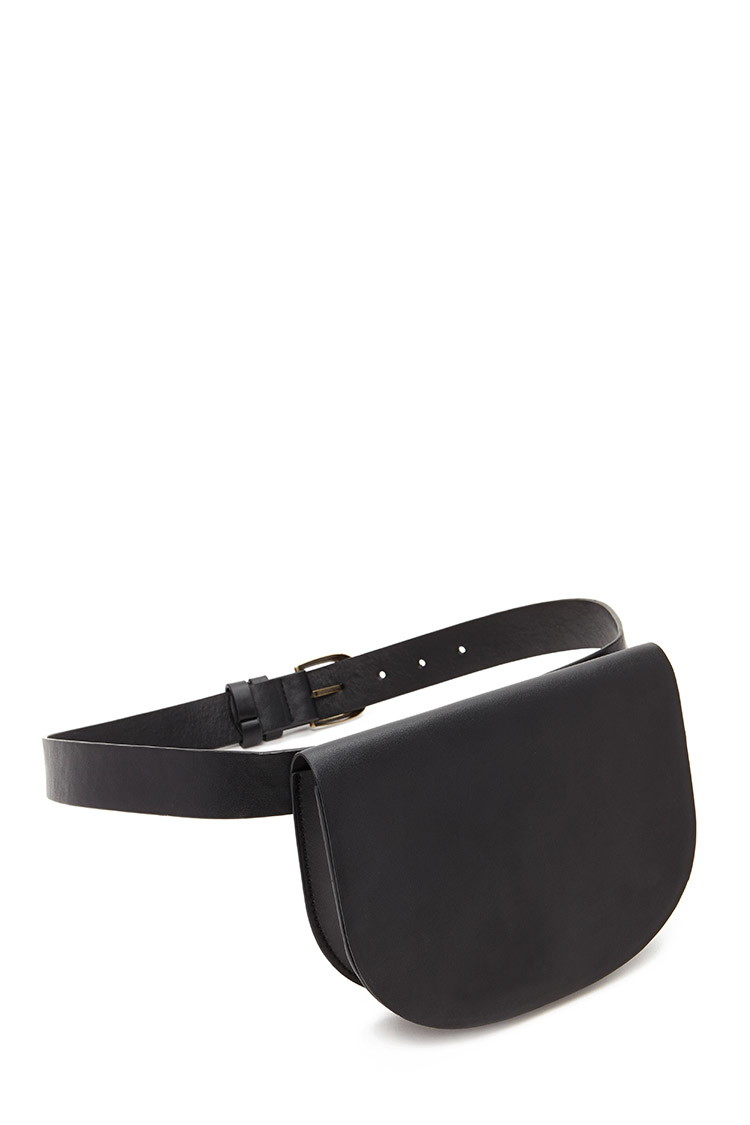 30267f338eda Lyst - Forever 21 Faux Leather Fanny Pack in Black