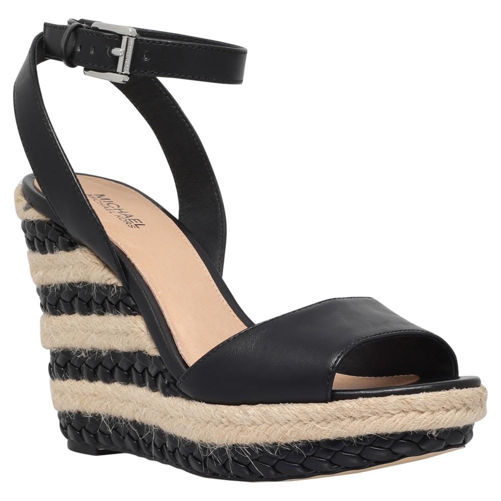 michael michael kors kyla wedge heeled sandals in black lyst