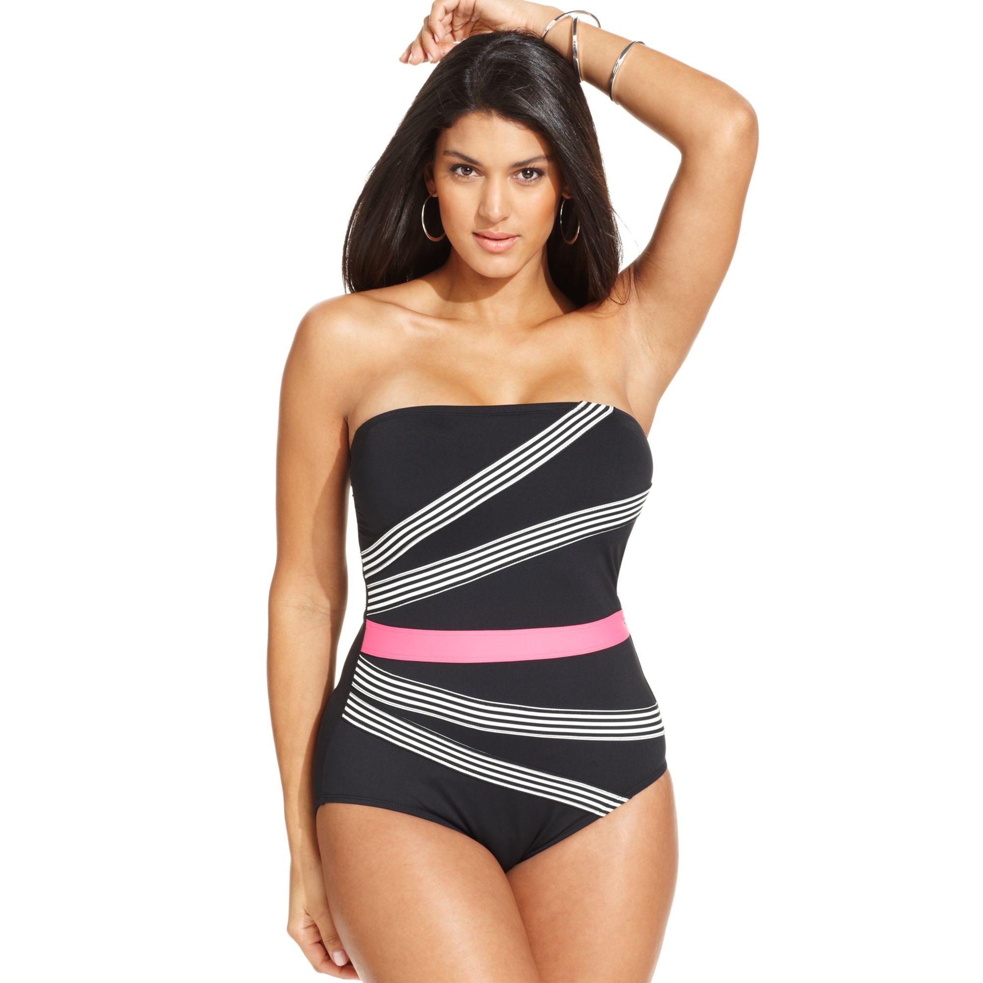 anne cole plus size striped bandeau onepiece swimsuit | lyst