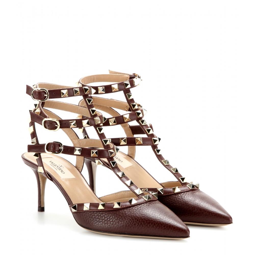 lyst valentino rockstud leather kitten heel pumps in brown. Black Bedroom Furniture Sets. Home Design Ideas
